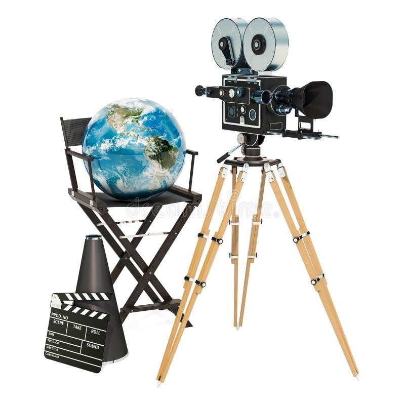 Παγκόσμια κινηματογραφία, σφαιρική έννοια βιομηχανίας κινηματογράφου τρισδιάστατη απόδοση διανυσματική απεικόνιση