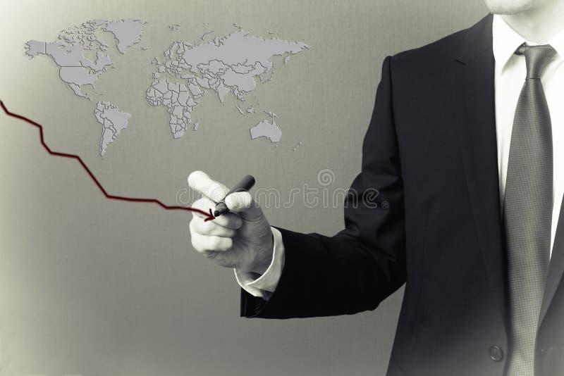 Παγκόσμια οικονομία στην πτώση στοκ φωτογραφίες