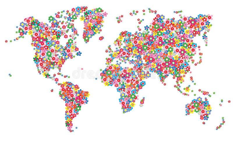 Παγκόσμια λουλούδια χαρτών διανυσματική απεικόνιση