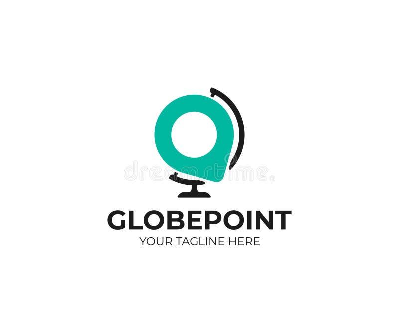 Παγκόσμια σφαίρα γραφείων και πρότυπο λογότυπων σημείου καρφιτσών Γήινη σφαίρα υπολογιστών γραφείου και διανυσματικό σχέδιο σημαδ ελεύθερη απεικόνιση δικαιώματος