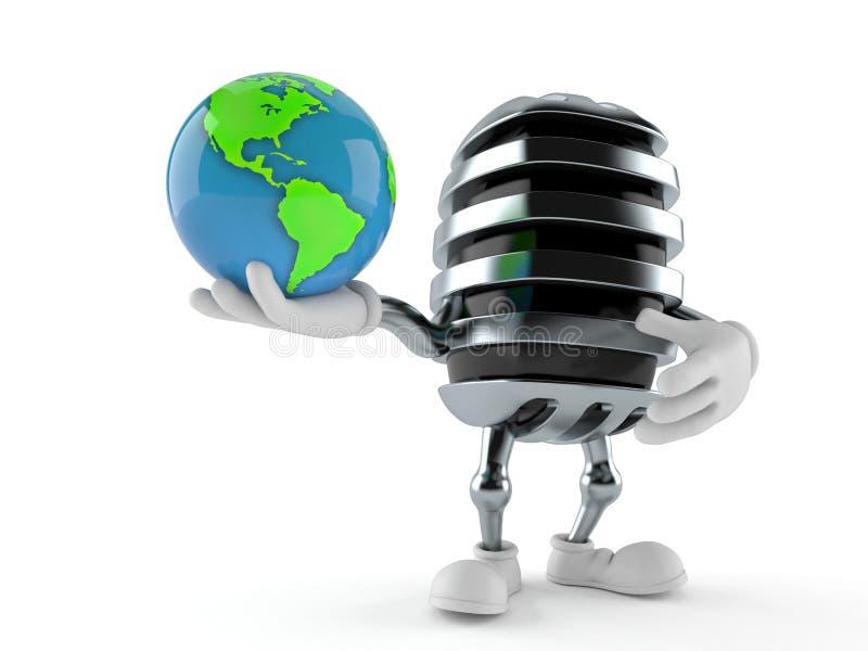 Παγκόσμια σφαίρα εκμετάλλευσης χαρακτήρα μικροφώνων ελεύθερη απεικόνιση δικαιώματος