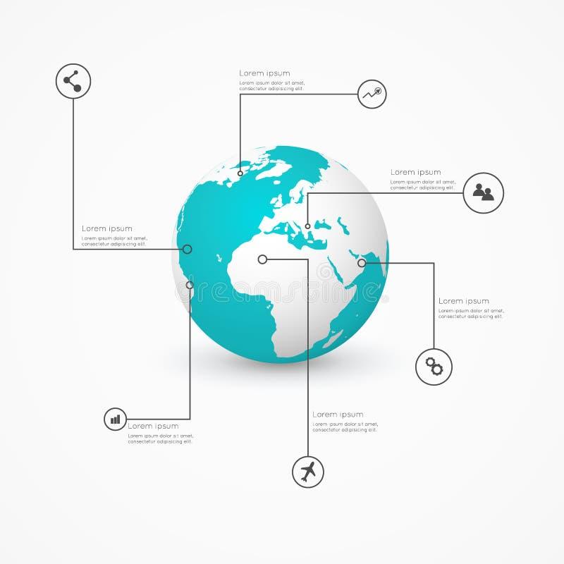 Παγκόσμια σφαίρα με τα infographic εικονίδια, επιχειρησιακό λογισμικό και κοινωνικός διανυσματική απεικόνιση