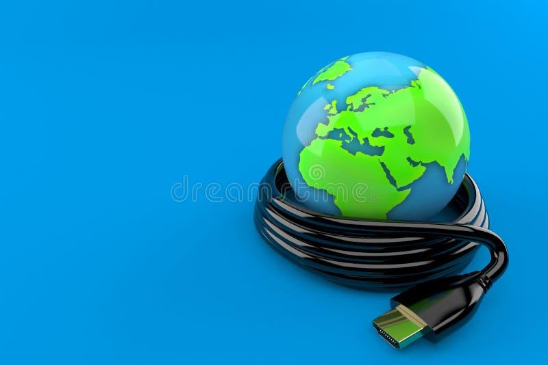 Παγκόσμια σφαίρα με το καλώδιο hdmi απεικόνιση αποθεμάτων