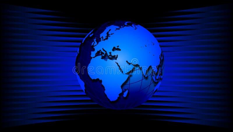Παγκόσμια σφαίρα στα μπλε κύματα Μια παγκόσμια σφαίρα στο μπλε κυματιστό υπόβαθρο απεικόνιση αποθεμάτων