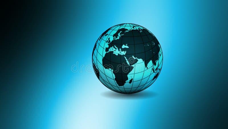 Παγκόσμια σφαίρα στο μπλε σκιασμένο υπόβαθρο r απεικόνιση αποθεμάτων
