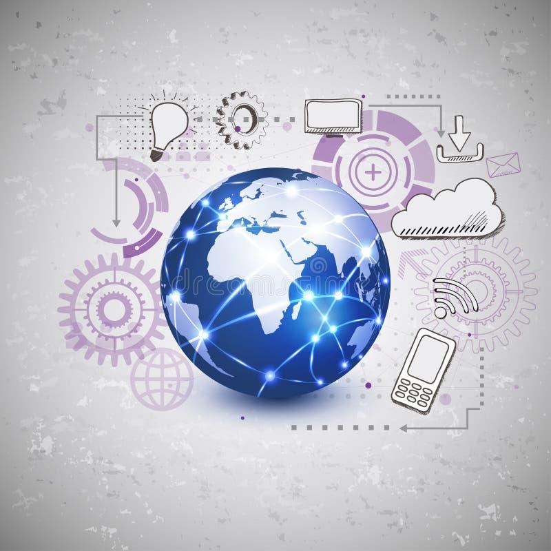 Παγκόσμια φουτουριστική τεχνολογία με το στοιχείο ψηφιακών και σκίτσων εικονιδίων ελεύθερη απεικόνιση δικαιώματος