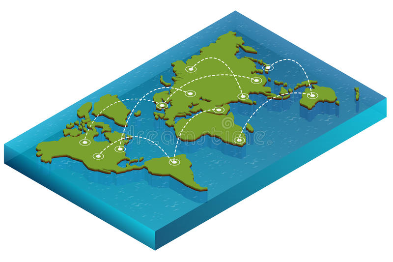 Παγκόσμια isometric έννοια χαρτών τρισδιάστατη επίπεδη απεικόνιση του κόσμου χαρτών Διανυσματικός πολιτικός παγκόσμιος χάρτης σύν διανυσματική απεικόνιση