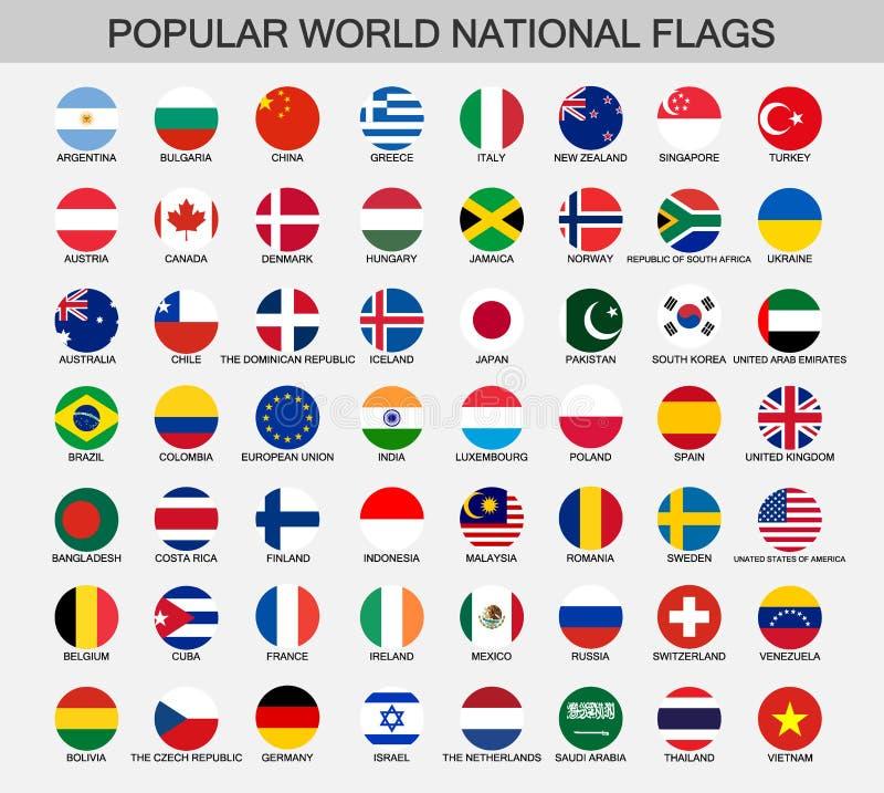 Παγκόσμιες εθνικές σημαίες γύρω από τα κουμπιά διανυσματική απεικόνιση