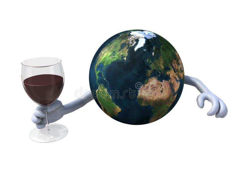 Παγκόσμιες ευθυμίες με το κόκκινο κρασί απεικόνιση αποθεμάτων