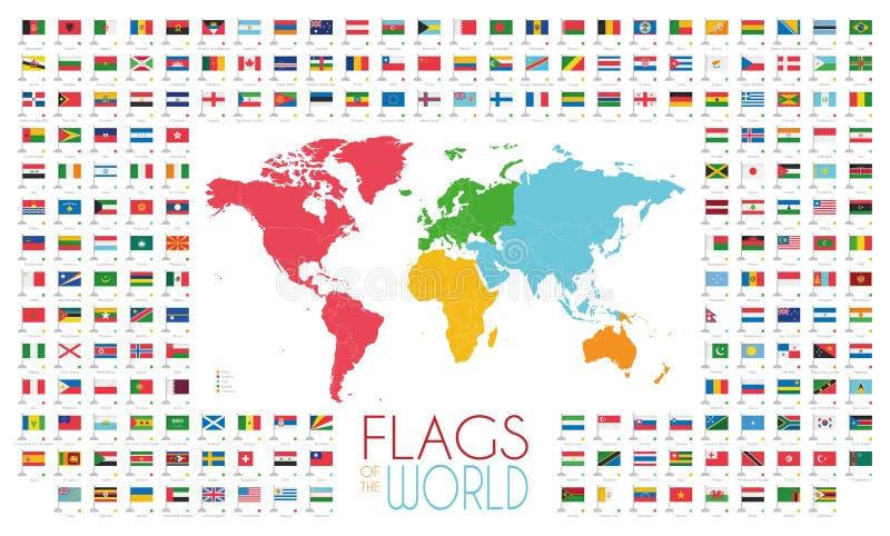 204 παγκόσμιες σημαίες με τον παγκόσμιο χάρτη από τη διανυσματική απεικόνιση ηπείρων απεικόνιση αποθεμάτων