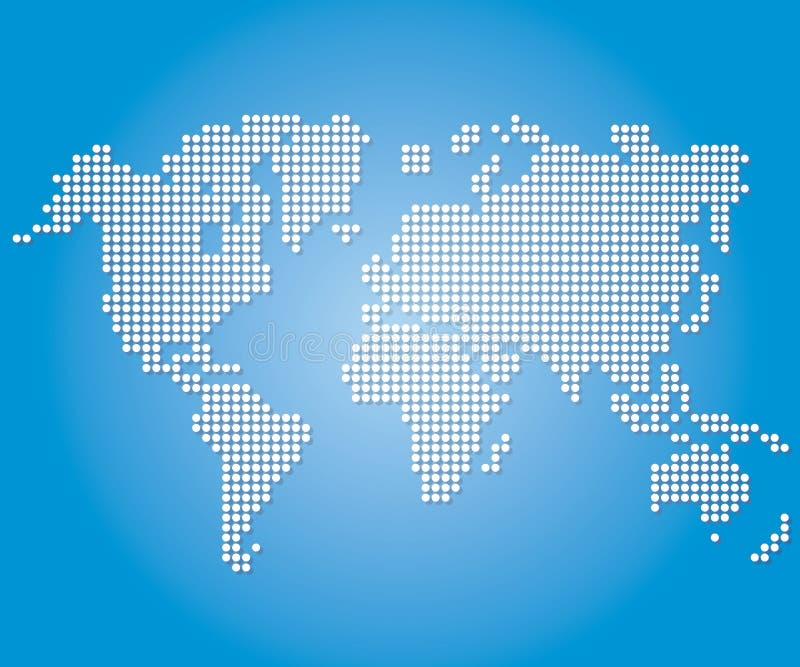 Παγκόσμιοι χάρτες και σφαίρες σημείων στο μπλε υπόβαθρο χρώματος ελεύθερη απεικόνιση δικαιώματος