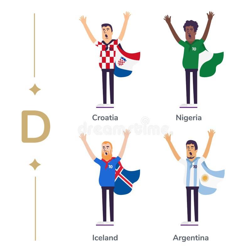 Παγκόσμιος ανταγωνισμός Εθνικές ομάδες υποστήριξης ανεμιστήρων ποδοσφαίρου Οπαδός ποδοσφαίρου με τη σημαία Κροατία, Νιγηρία, Ισλα διανυσματική απεικόνιση