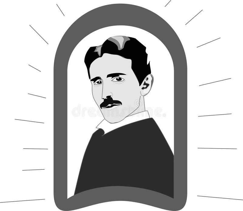 Παγκόσμιος εφευρέτης τέσλα της Nikola και πατέρας της σύγχρονης ζωής και της ηλεκτρικής ενέργειας διανυσματική απεικόνιση