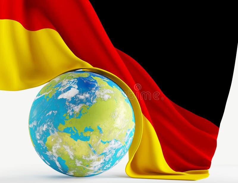Παγκόσμιος πλανήτης Γερμανία με τη γερμανική τρισδιάστατος-απεικόνιση σημαιών στοιχεία διανυσματική απεικόνιση