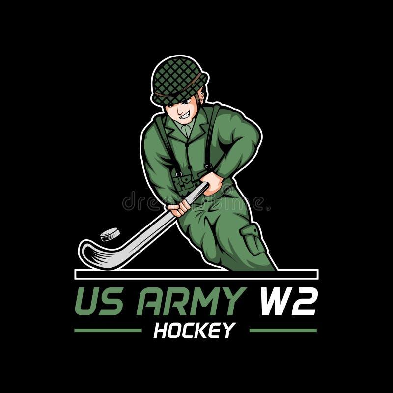 Παγκόσμιος πόλεμος 2 αμερικάνικου στρατού διανυσματική απεικόνιση χόκεϋ απεικόνιση αποθεμάτων
