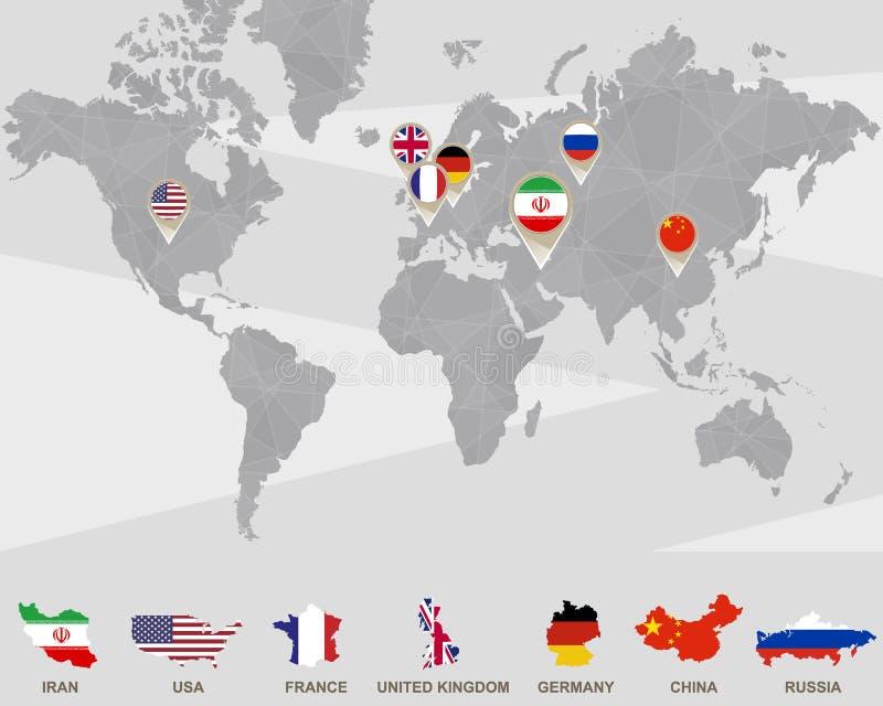 Παγκόσμιος χάρτης δείκτες με του Ιράν, ΗΠΑ, Γαλλία, UK, Γερμανία, Κίνα, Ρωσία ελεύθερη απεικόνιση δικαιώματος