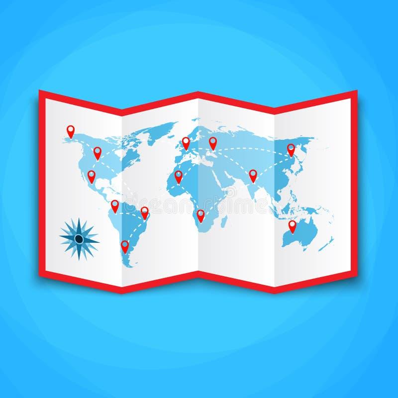 Παγκόσμιος χάρτης εγγράφου με τα εικονίδια θέσης εικονίδιο χαρτών, διανυσματικός χάρτης, διανυσματική απεικόνιση στο επίπεδο σχέδ απεικόνιση αποθεμάτων