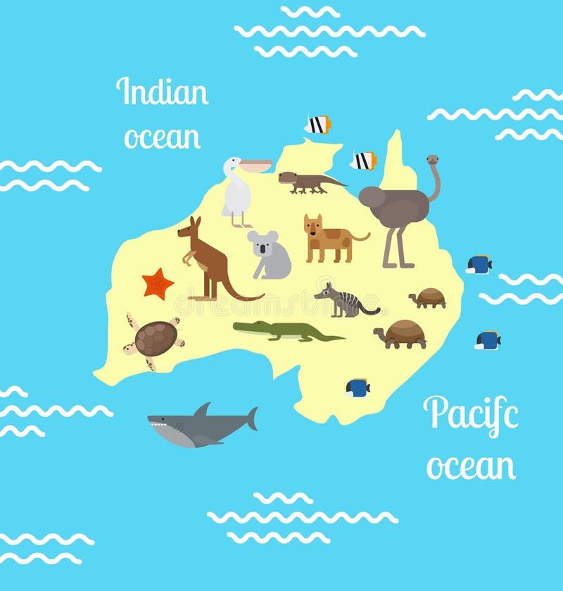 Παγκόσμιος χάρτης ζώων της Αυστραλίας για τα παιδιά ελεύθερη απεικόνιση δικαιώματος