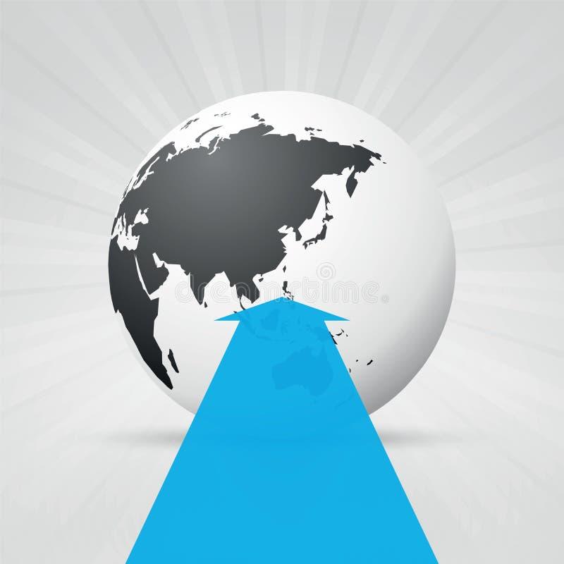 Παγκόσμιος χάρτης και μπλε βέλος ελεύθερη απεικόνιση δικαιώματος