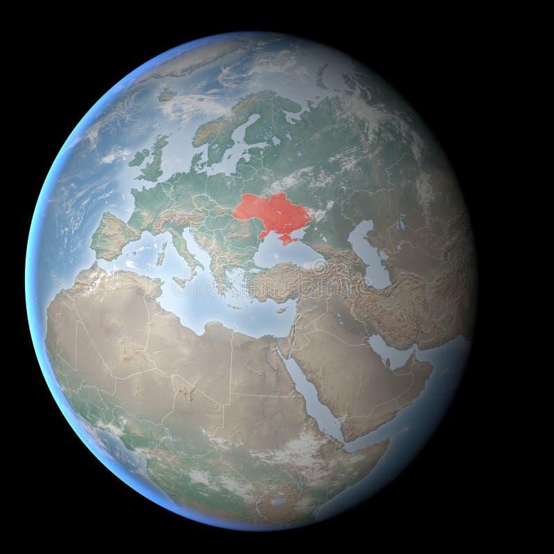 Παγκόσμιος χάρτης, Κριμαία και Ουκρανία, κόσμος διανυσματική απεικόνιση
