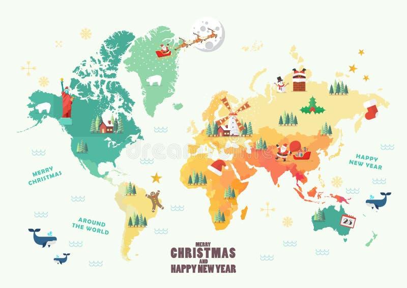 Παγκόσμιος χάρτης με τα στοιχεία Χριστουγέννων ελεύθερη απεικόνιση δικαιώματος