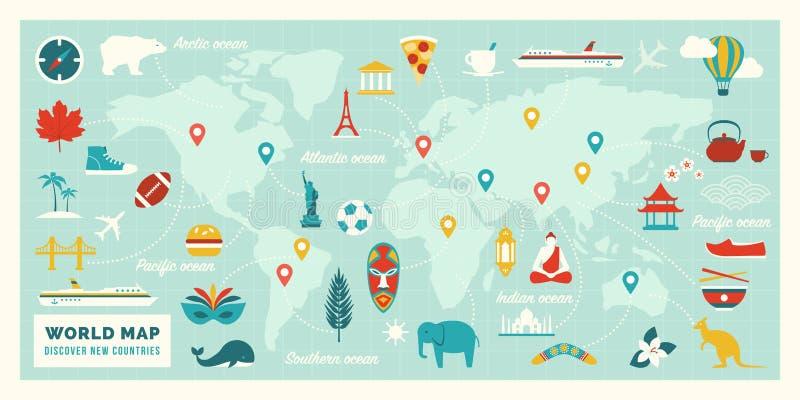 Παγκόσμιος χάρτης με τις διαδρομές, τους προορισμούς και τα ορόσημα ταξιδιού διανυσματική απεικόνιση