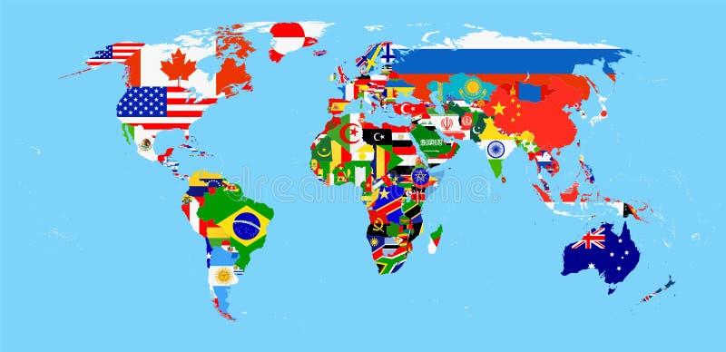 Παγκόσμιος χάρτης με τις σημαίες διανυσματική απεικόνιση