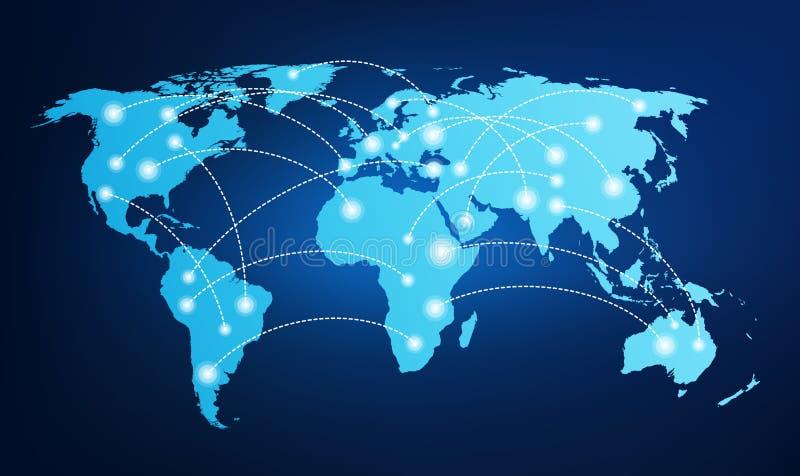 Παγκόσμιος χάρτης με τις σφαιρικές συνδέσεις διανυσματική απεικόνιση