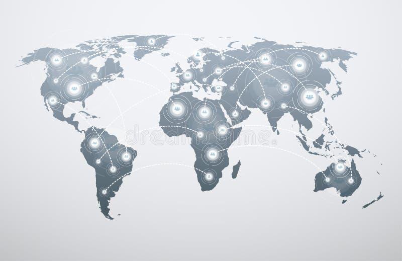Παγκόσμιος χάρτης με τις σφαιρικές συνδέσεις ελεύθερη απεικόνιση δικαιώματος