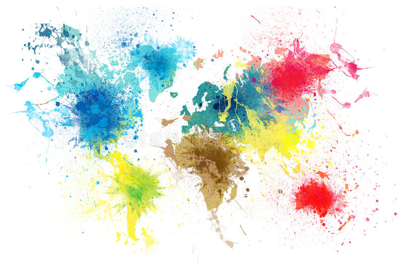 Παγκόσμιος χάρτης με τους παφλασμούς χρωμάτων διανυσματική απεικόνιση