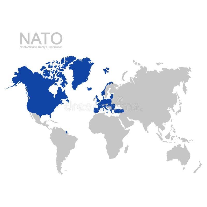 παγκόσμιος χάρτης με το κράτος μέλος του ΝΑΤΟ διανυσματική απεικόνιση