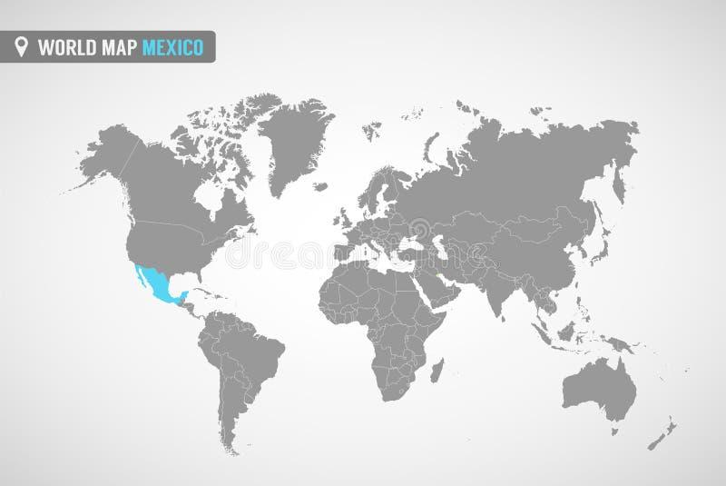 Παγκόσμιος χάρτης με το identication του Μεξικού χάρτης Μεξικό Πολιτικός παγκόσμιος χάρτης στο γκρίζο χρώμα Χώρες της Αμερικής ελεύθερη απεικόνιση δικαιώματος