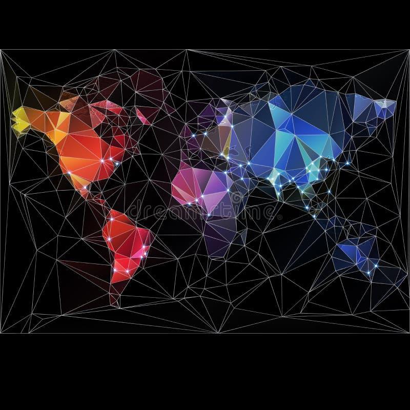 Παγκόσμιος χάρτης νύχτας με τις μεγαλύτερες πόλεις ελεύθερη απεικόνιση δικαιώματος