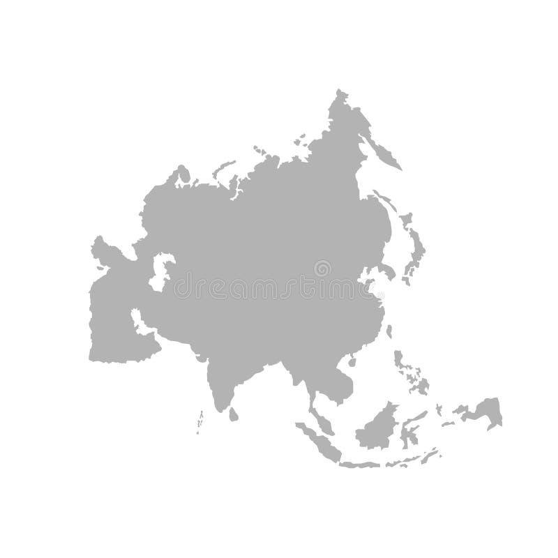 Παγκόσμιος χάρτης περιλήψεων της Ασίας - διάνυσμα ελεύθερη απεικόνιση δικαιώματος