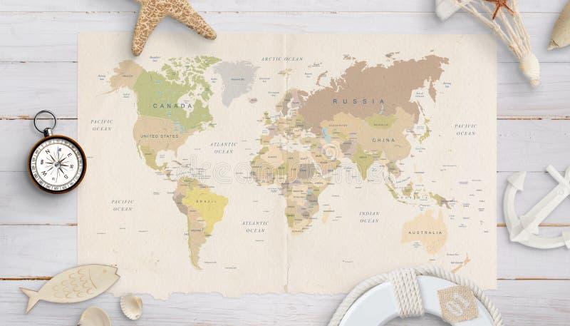 Παγκόσμιος χάρτης σε έναν πίνακα που περιβάλλεται από τα κοχύλια, την πυξίδα, την άγκυρα και τη ζώνη ασφαλείας στοκ φωτογραφία με δικαίωμα ελεύθερης χρήσης