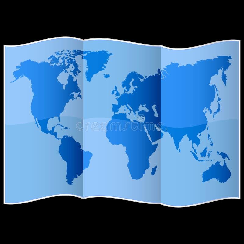 Παγκόσμιος χάρτης σε διπλωμένο χαρτί ελεύθερη απεικόνιση δικαιώματος