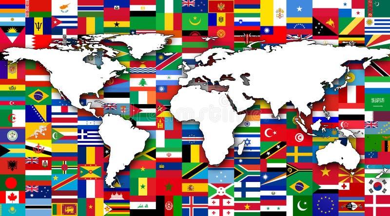 Παγκόσμιος χάρτης στο υπόβαθρο των παγκόσμιων σημαιών διανυσματική απεικόνιση