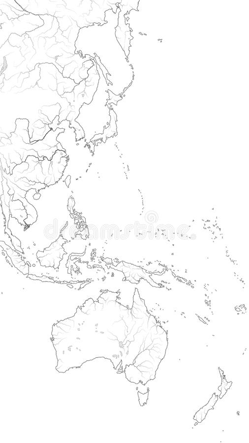Παγκόσμιος χάρτης της δυτικής ακτής ΕΙΡΗΝΙΚΏΝ ΩΚΕΑΝΏΝ: Αυστραλασία, Πολυνησία ( Ειρηνικοασιατικό Region)  Γεωγραφικό διάγ απεικόνιση αποθεμάτων