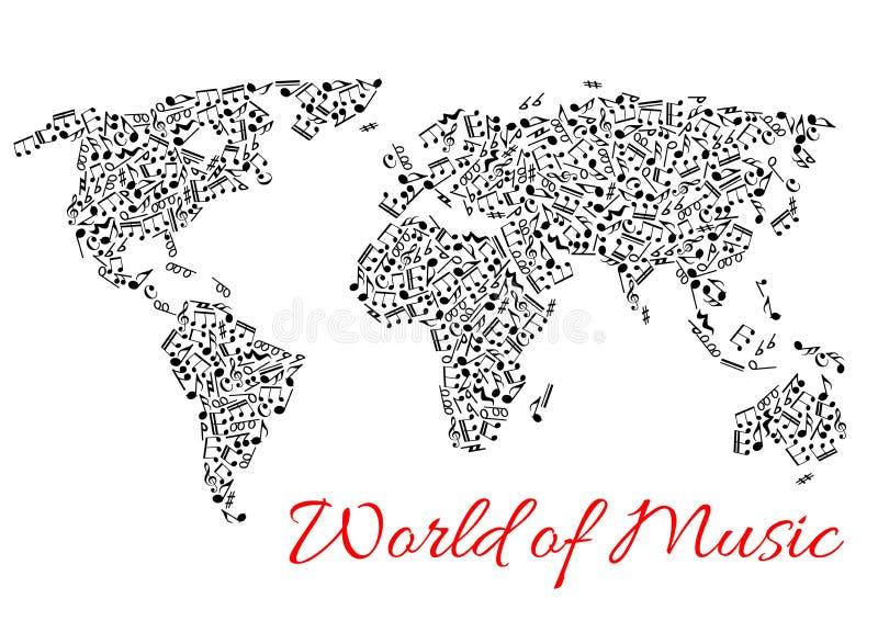 Παγκόσμιος χάρτης του muisc και των μουσικών νοτών ελεύθερη απεικόνιση δικαιώματος