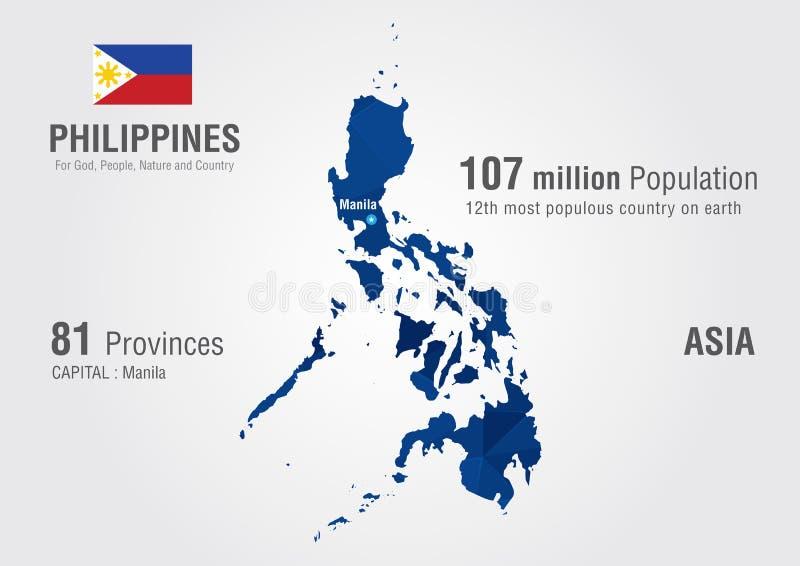 Παγκόσμιος χάρτης των Φιλιππινών με μια σύσταση διαμαντιών εικονοκυττάρου στοκ εικόνα