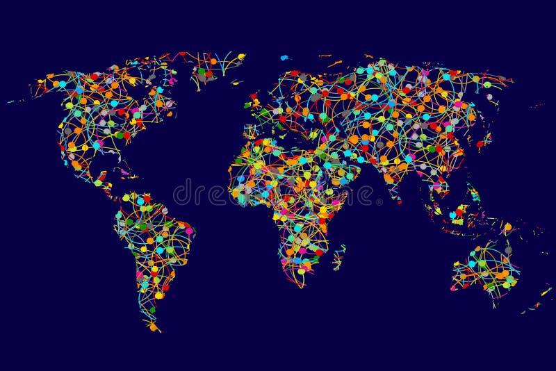 Παγκόσμιος χάρτης φιαγμένος από αφηρημένο ζωηρόχρωμο δίκτυο σημείων διανυσματική απεικόνιση