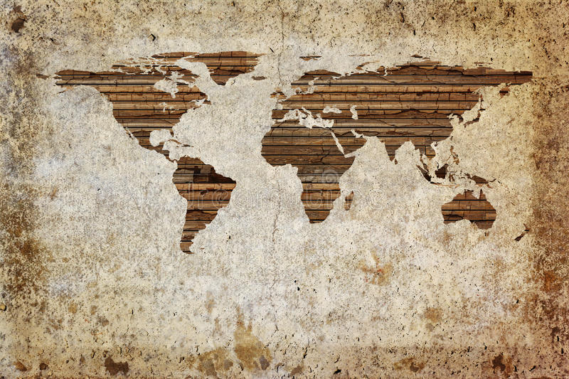 Παγκόσμιος χάρτης Grunge στοκ εικόνα