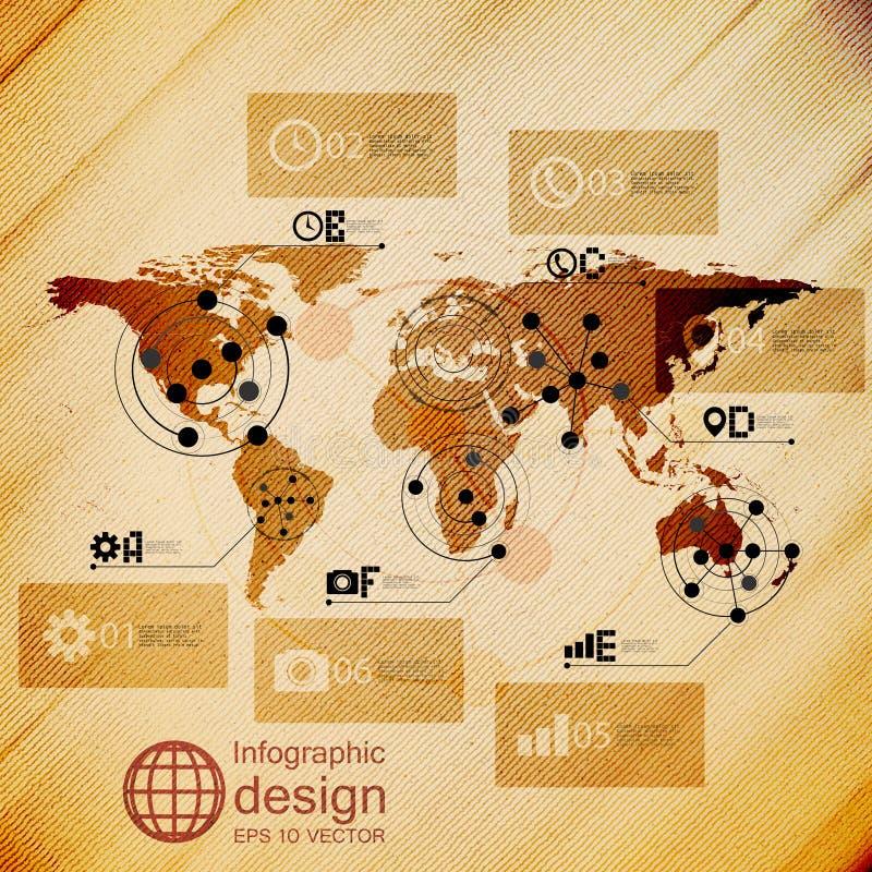 Παγκόσμιος χάρτης, infographic απεικόνιση σχεδίου, ξύλινη διανυσματική απεικόνιση