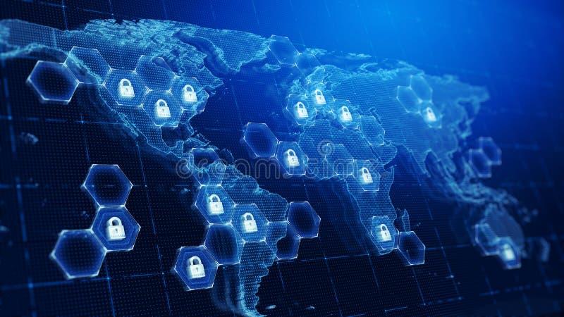 Παγκόσμιος χάρτης Techology και εικονίδια λουκέτων - υπόβαθρο έννοιας ασφάλειας τεχνολογίας διανυσματική απεικόνιση