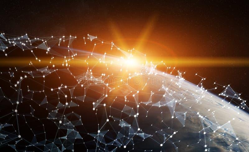 Παγκόσμιο δίκτυο και ανταλλαγές datas πέρα από το τρισδιάστατο rend πλανήτη Γη διανυσματική απεικόνιση