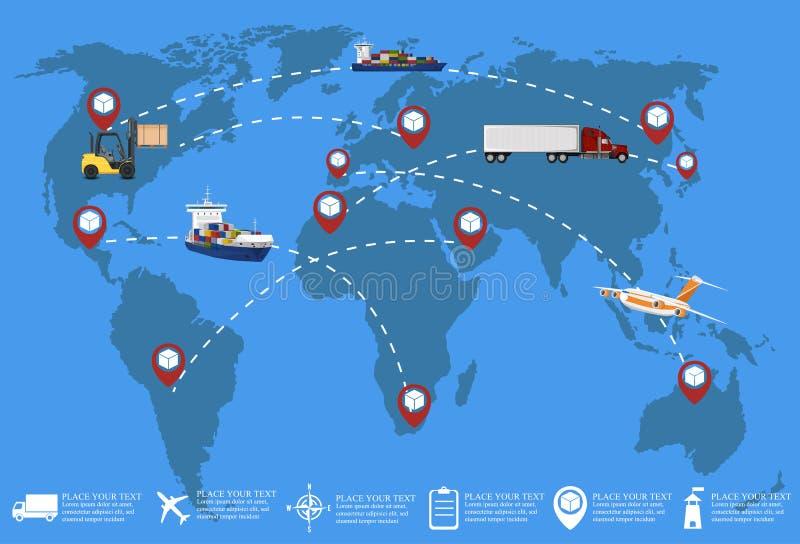 Παγκόσμιο δίκτυο της εμπορικής μεταφοράς φορτίου διανυσματική απεικόνιση