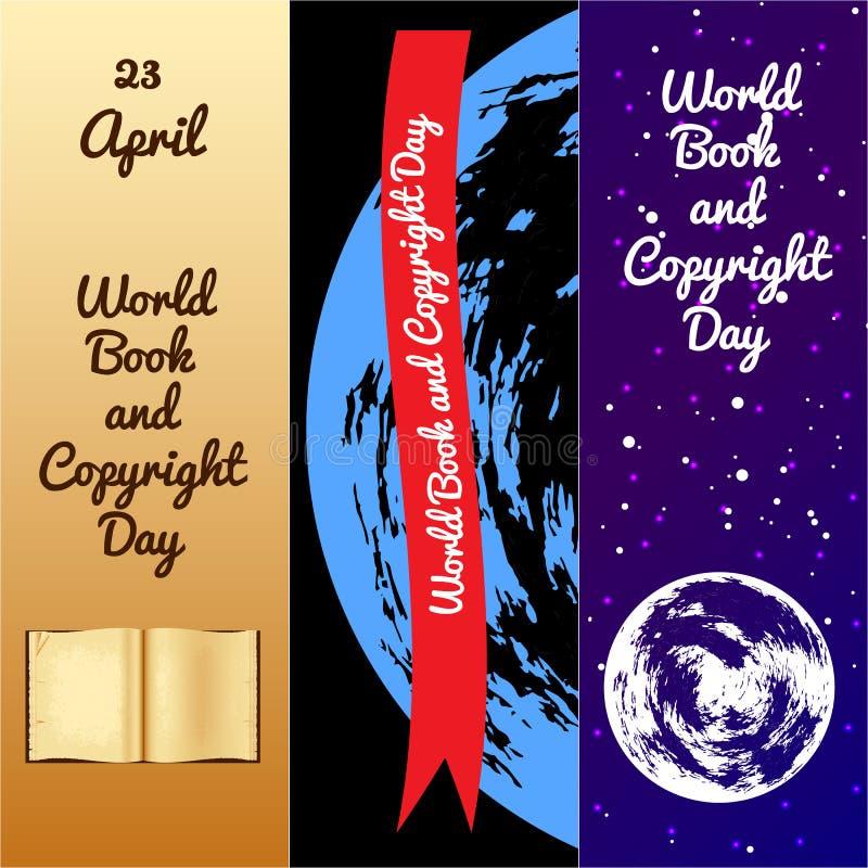 Παγκόσμιο βιβλίο και ημέρα πνευματικών δικαιωμάτων σελιδοδεικτών απεικόνιση αποθεμάτων