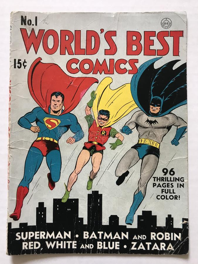 1941 Παγκόσμιο βιβλίο κόμικς με τον Σούπερμαν, τον Μπάτμαν και τον Ρόμπιν στοκ φωτογραφία με δικαίωμα ελεύθερης χρήσης