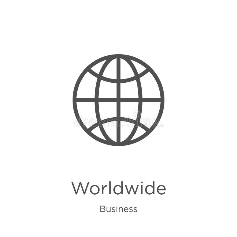 παγκόσμιο διάνυσμα εικονιδίων από την επιχειρησιακή συλλογή Λεπτή διανυσματική απεικόνιση εικονιδίων περιλήψεων γραμμών παγκόσμια ελεύθερη απεικόνιση δικαιώματος