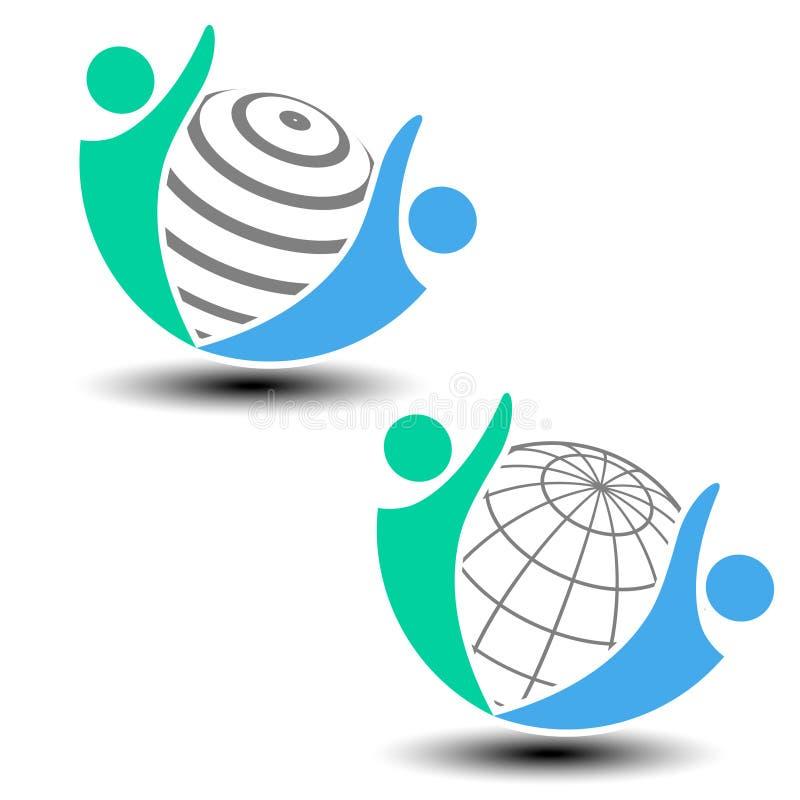 Παγκόσμιο εικονίδιο, ανθρώπινο σύμβολο Κοινότητα των ανθρώπων στον κόσμο διανυσματική απεικόνιση